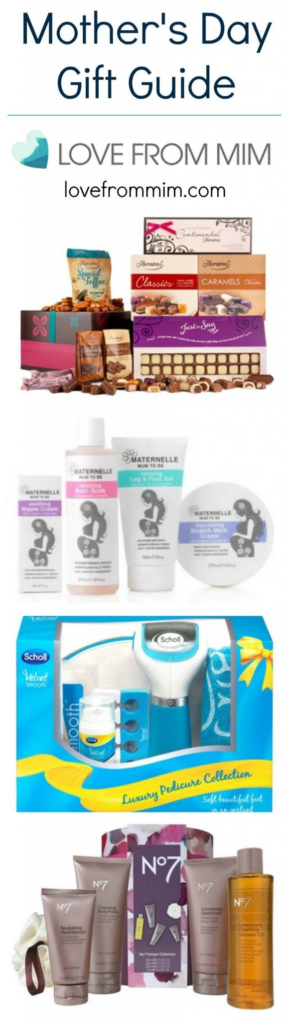 Mothers Day Gift Guide - lovefrommim.com Mother's Day, Mother's Day Gift Guide, Gift Ideas for Mums, Gift Ideas for Mother's Day Thorntons Chocolate Hamper Maternelle Mum to Be range Tesco Direct I Love Tea Mug Scholl Luxury Pedicure Collection Scholl Velvet Smooth No. 7 Skincare Set