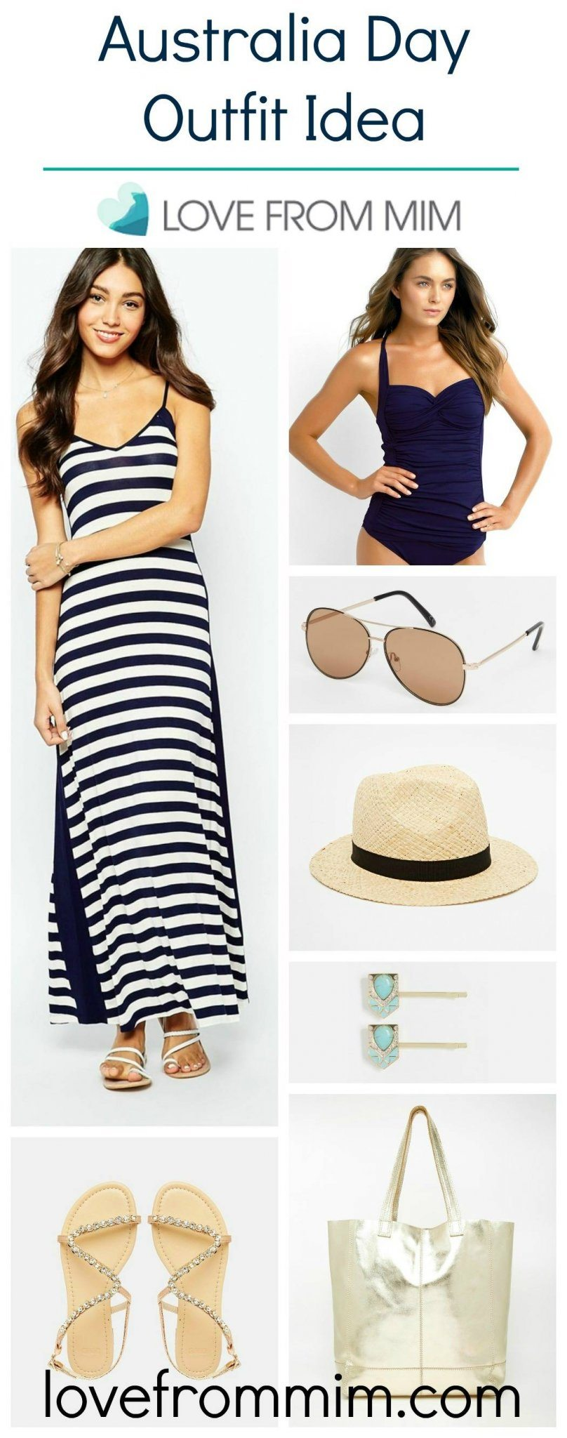 Australia Day Outfit Idea - www.lovefrommim.com Navy Blue and White Maxi Dress Straw Trilby Aviators Gold Bag Gold Sandals Navy Seafolly Goddess Tankini