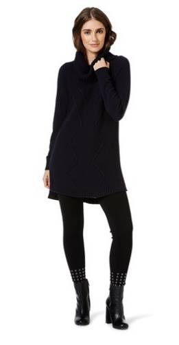 Updating my Winter Wardrobe with Rockmans - lovefrommim.com Chunky Knit Black Jumper Black Leggings Black Ankle Boots Autumn Outfit Idea Winter Outfit Idea Rockmans Table Eight Carly Roll Neck Long Sleeve Knit Top