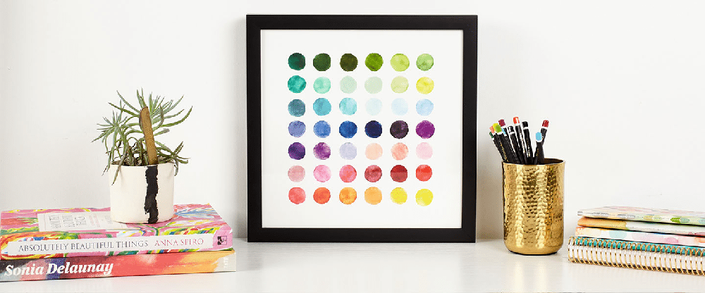 Colourful additions to my Home Office Work Space! lovefrommim.com Love from Mim Erin Condren Wall Art Erin Condren LifePlanner Home Office Decor How to decorate a Home Office How to add colour to a Home Office Erin Condren Watercolour Palette Art Print