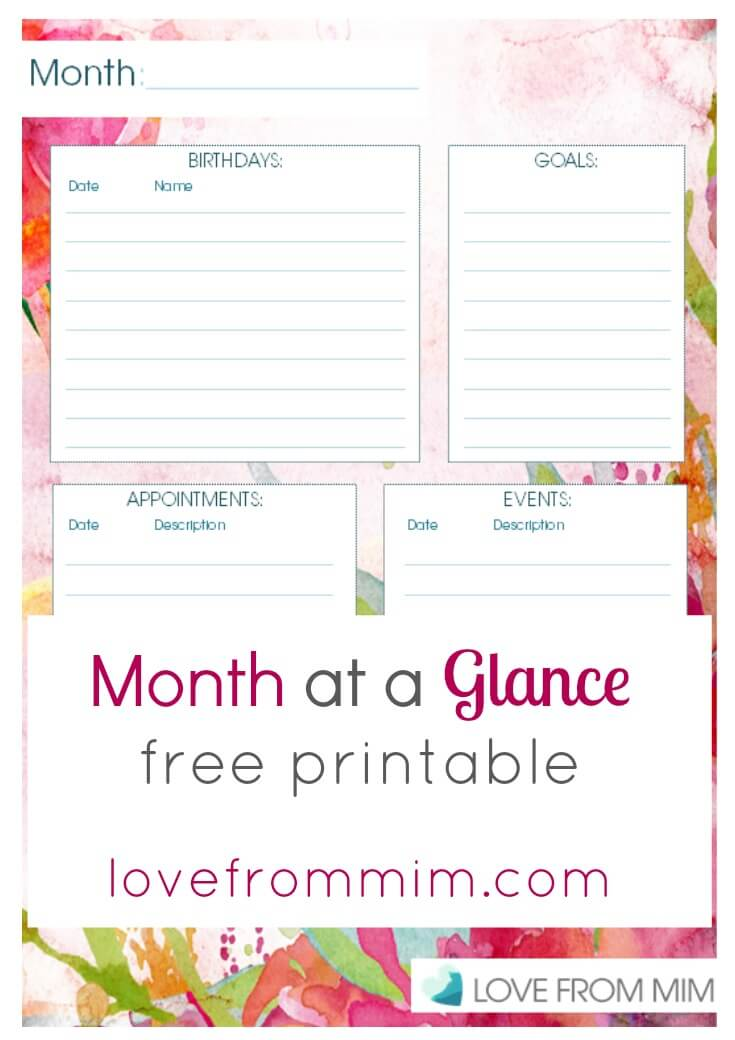 Month at a Glance Free Printable - lovefrommim.com Love from Mim Planning, Yearly Planning, Productivity, Productivity Hacks, Monthly Planner, Monthly Plans, Wall Planner, Family Planner, Organisation, Organisation Hacks, Free Printable, Printable, Plan With Mim,