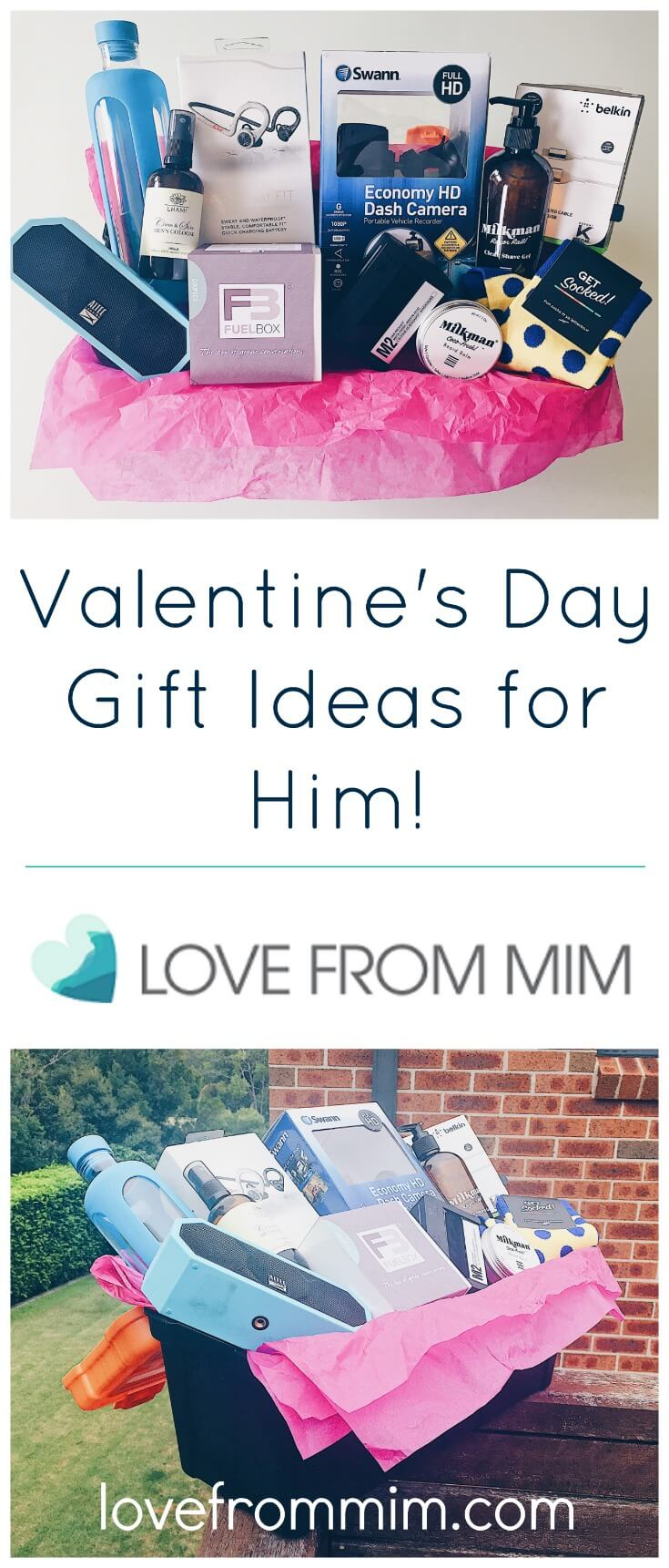 10 Valentine's Day Gift Ideas for Him - lovefrommim.com Love from Mim Valentine's Day, Valentine's Day Gift Guide, Gift Guide, Wish List, Men's Gifts, Male Gifts, Valentine's Day Gift Ideas for Him, What to buy your Husband for Valentine's Day, Hampers, Valentine's Day Hamper What to buy husband for Valentine's Day