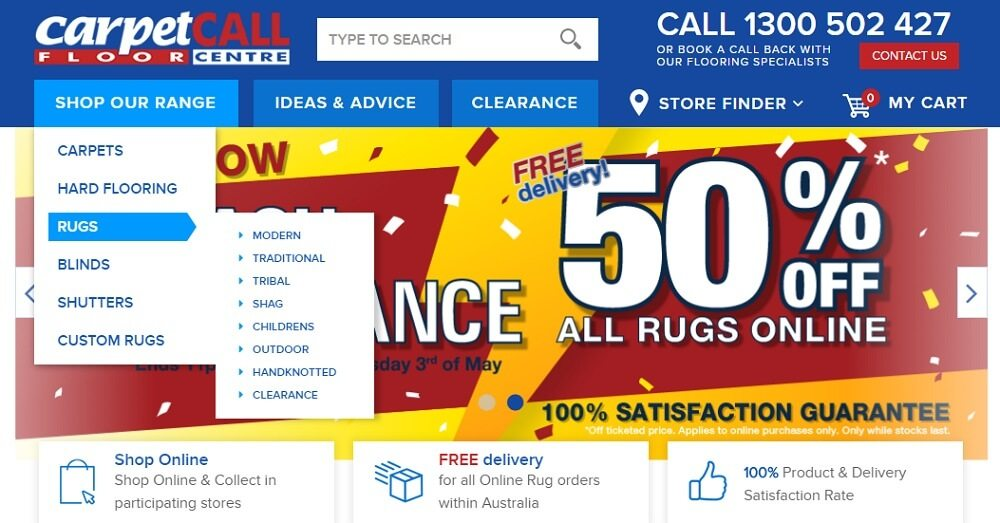 How to search Rugs on the Carpet Call website